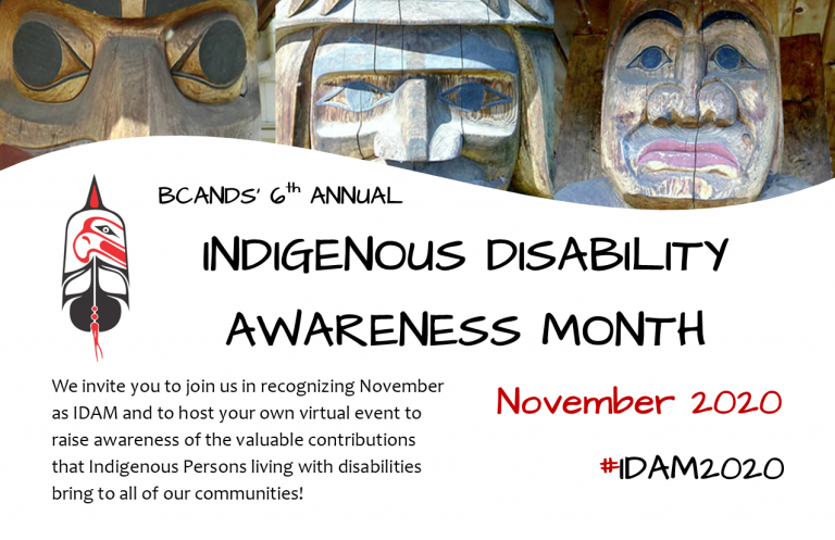 Logo of the BC Aboriginal Network on Disability Society (BCANDS) Indigenous Disability Awareness Month (IDAM)