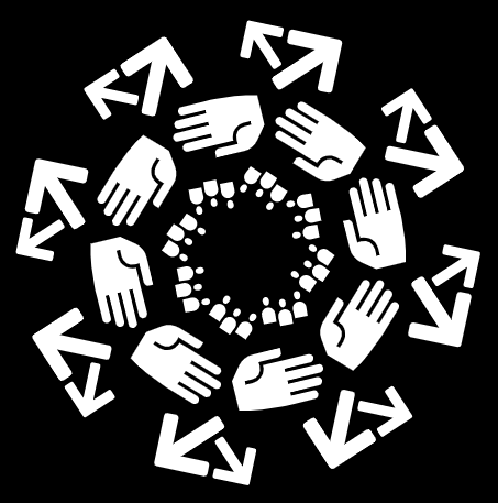 Images of arrows and hands arranged ina  circle