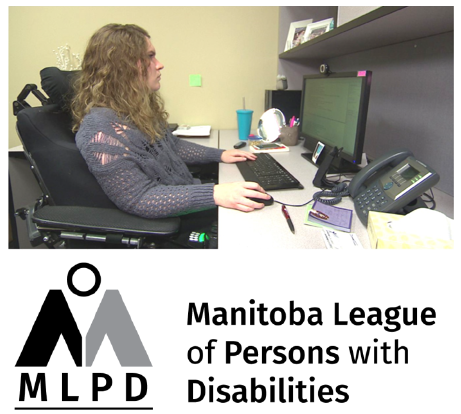 MLPD logo and image of a woman in an electric wheelchair using a desktop computer.PNG