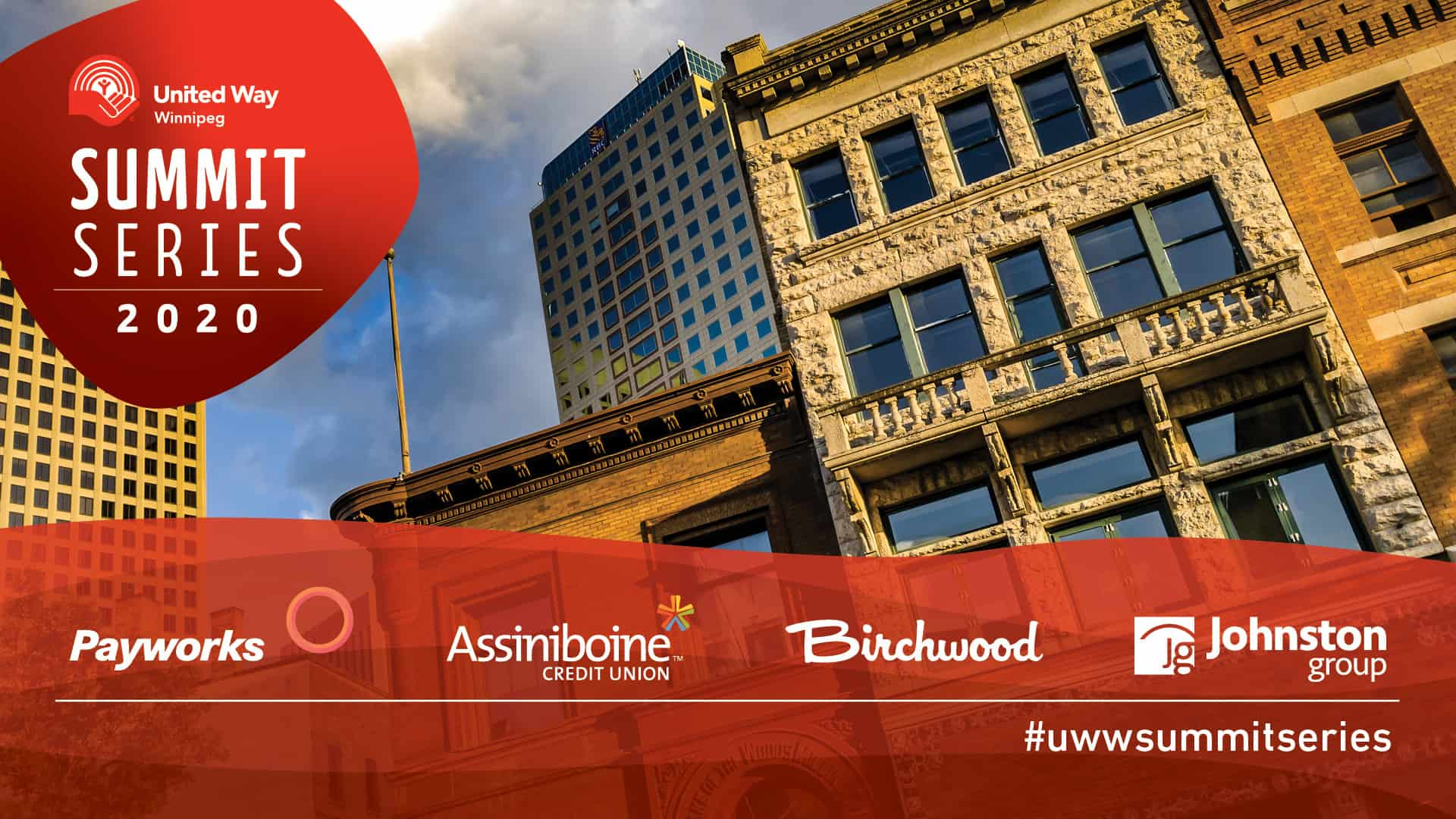 Summit Series United Way Winnipeg advertisement with sponsors Payworks, Assiniboine Credit Union, Birchwood, and Johnston Group